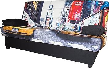 Abitti Sofá Cama EKO tapizad en Tela y Estampado Nueva York ...