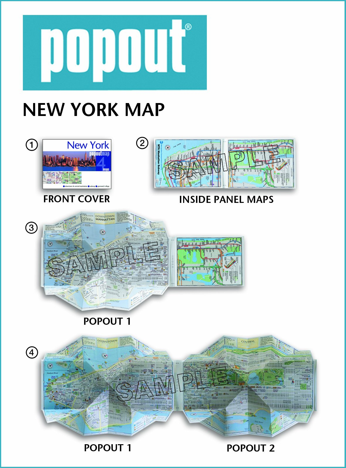 New York City PopOut Map Popup City Street Map Of Manhattan New - Nyc unfolds map