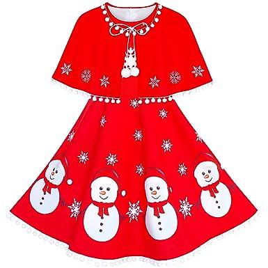 b1484f5a8d30f Sunny Fashion Robe Fille Bonhomme de Neige Rouge Cap Manteau Noël Nouveau  an 4 Ans