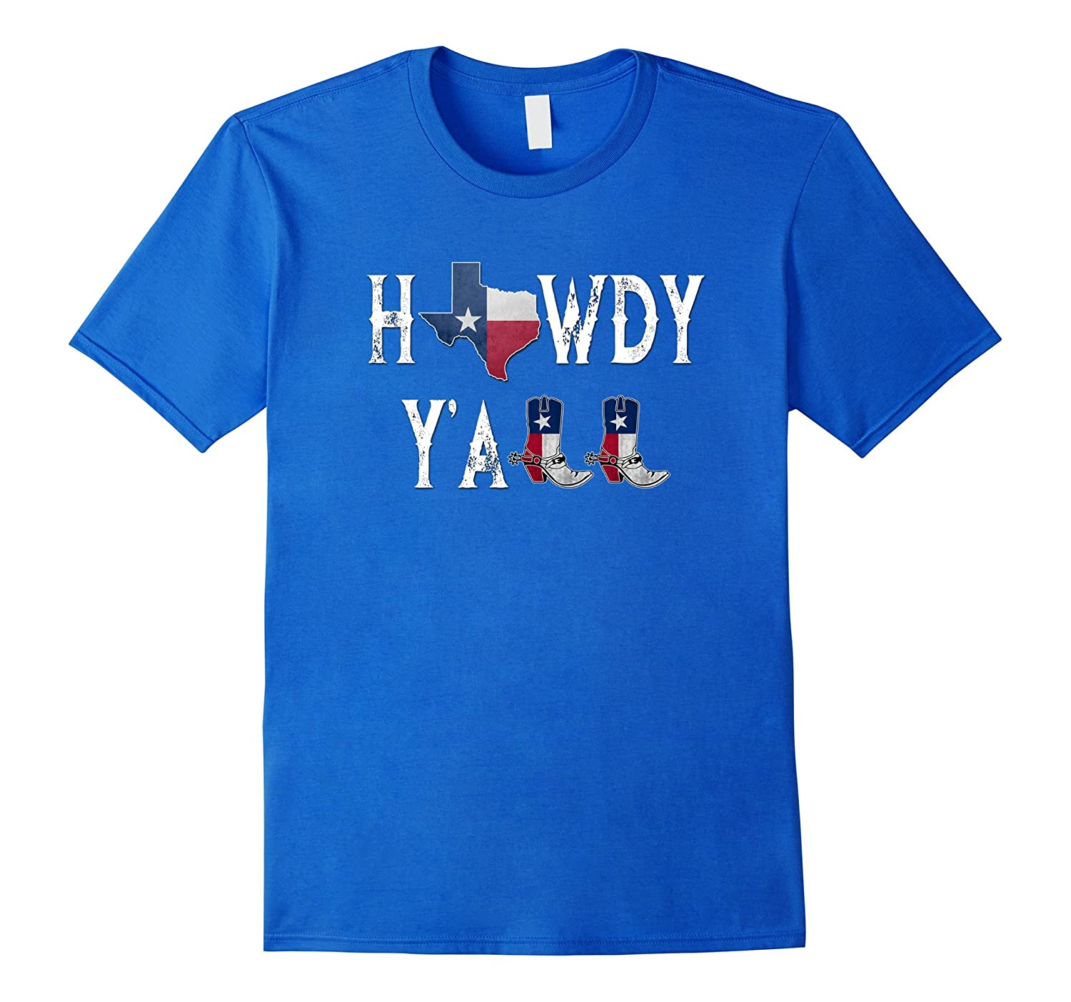 Howdy Y'all Vintage Distressed State of Texas Flag T-Shirt-FL