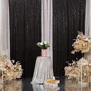 Juya Delight 2ft x 8ft x 2Pcs Black Sequin Photography Backdrop Curtain for Party Banquet Festival Wedding Anniversary Exhibition