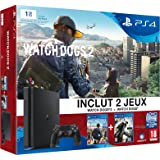 Pack Console PS4 1 To Slim + Watch Dogs 2 + Watch Dog (code de téléchargement)