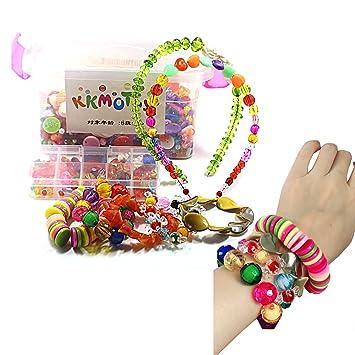 dfe96820d4594 KKMO おもちゃ ビーズ アクセサリーキット DIY材料 手作り 知育玩具 メイキングトイ 女の子 子供のお誕生
