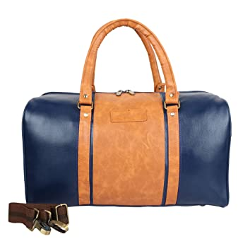 c78b3a719af WILLOW   SMITH Waterproof Faux Leather 30 Liter Duffle for Travel Gym  Weekend Overnight Designer Crossbody Luggage Bag Men Women - Blue   Amazon.in  Bags, ...