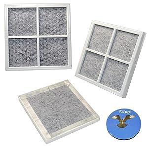 HQRP Pack of 3 Fresh Air Filters for LG LFX31935ST, LFX31945ST, LFX31995ST, LFX329345ST, LFX33975ST, LFXS30766S, LMX30995ST, LMX31985ST, LSC22991ST, LSFD2591ST Refrigerators + HQRP Coaster