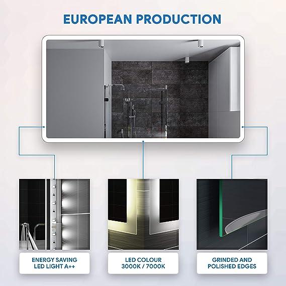 FORAM Espejo de Baño con Iluminación LED - Luz Espejo de Pared con Accesorios - Diferentes tamaños para Baño Dormitorio Maquillaje - L59: Amazon.es: Hogar