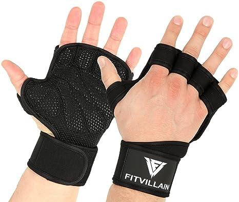 FITVILLAIN Guanti per Crossfit Palestra e Sollevamento Pesi - Paracalli  Crossfit con Polsiere per Fitness f5e10adf5b8c