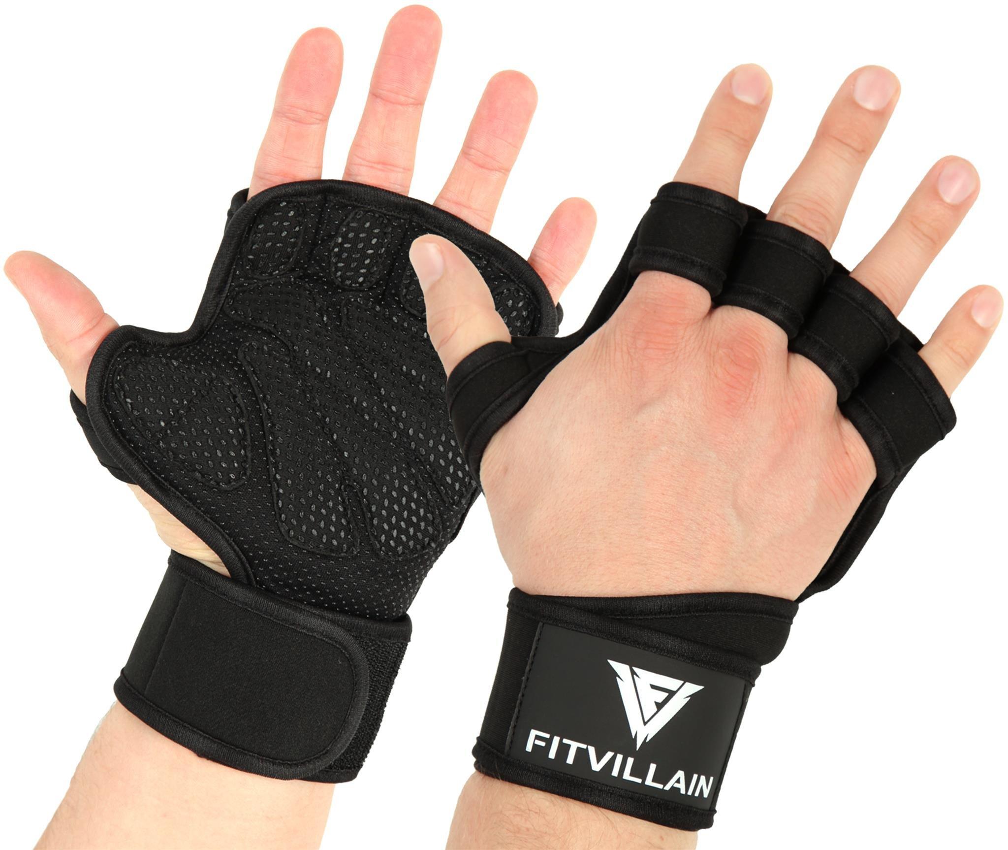 Guantes de Crossfit para Gimnasio Entrenamiento - Calleras de Neopreno Acolchado sin Dedos con Protección de