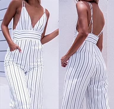 c095008f97 Doris Batchelor Trendy Jumpsuit Women Striped Clubwear V-Neck Playsuit  Sleeveless Jumper Bodycon Party Jumpsuit