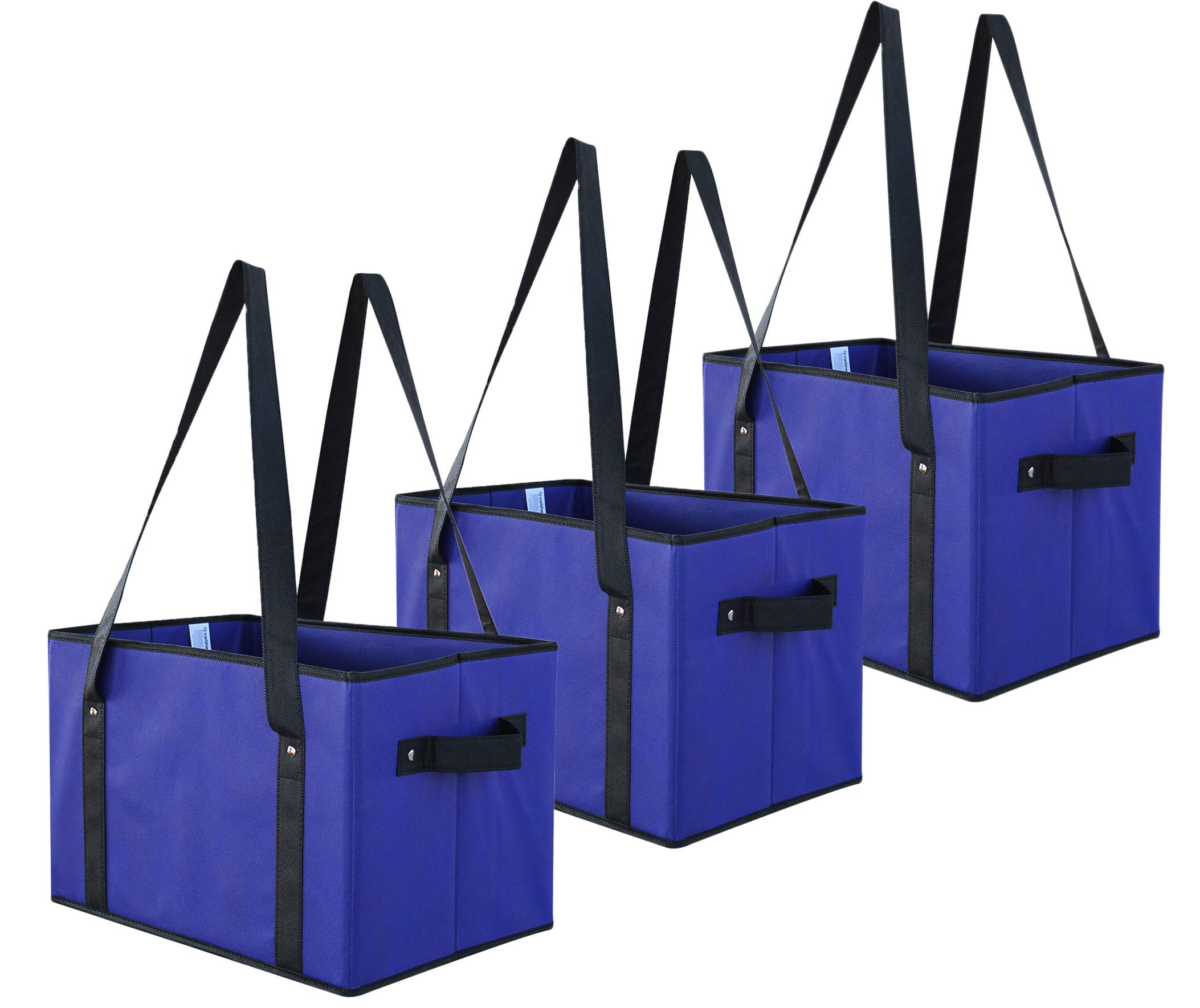 Earthwise Deluxe Collapsible Reusable Shopping Box Grocery Bag Set with Reinforced Bottom Storage Boxes Bins Cubes (Royal) Catering Food Delivery Temperature control by EarthWise