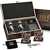 Premium Whiskey Stones Gift Set for Men - 2 King-Sized Chilling Stainless-Steel Whiskey Balls - 2 XL Whiskey Glasses, Slate S