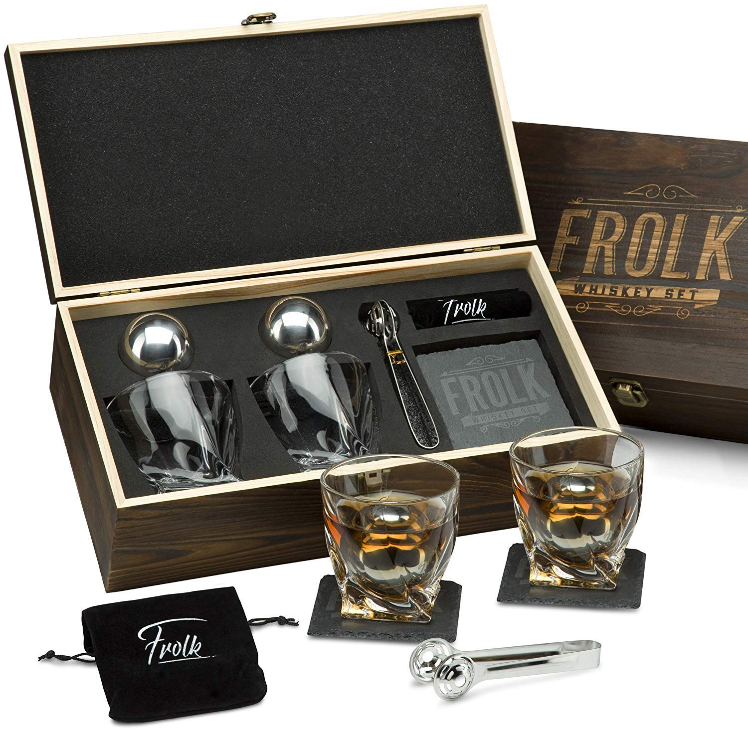 Premium Whiskey Stones Gift Set for Men - 2 King-Sized Chilling Stainless-Steel Whiskey Balls - 11 oz 2 Large Twisted Whiskey Glasses, Slate Stone Coasters, Tongs - Luxury Set in Real Pine Wood Box by Frolk