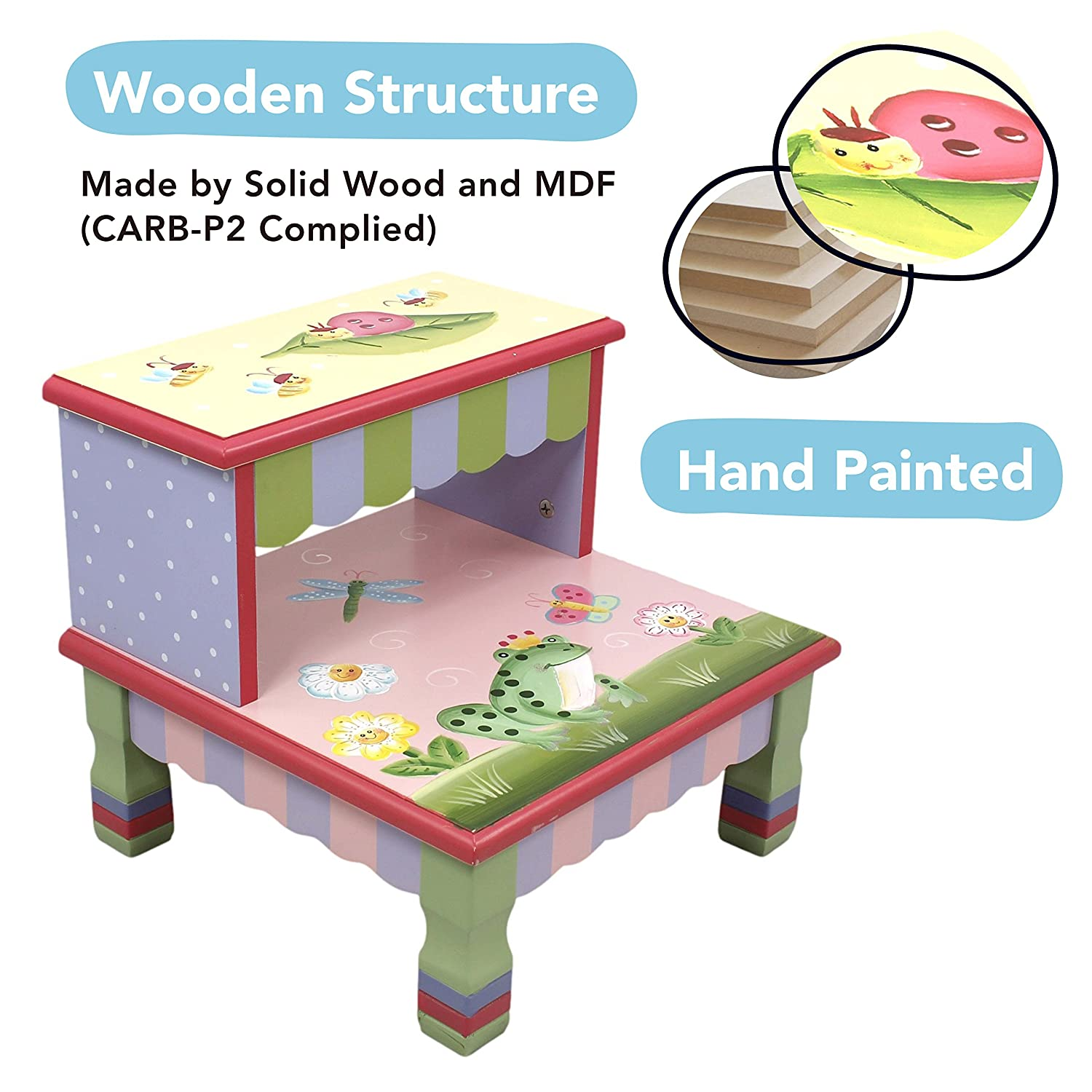 Hand Crafted /& Hand Painted Details Outer Space themed Kids Wooden Step Up Stool with Storage Fantasy Fields Child Friendly Water-based Paint