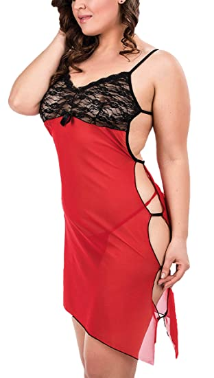 2e3fe7738 Image Unavailable. Image not available for. Color  PIPPEROO Red Sexy  Babydoll Lingerie for Women XL Size Negligee ...