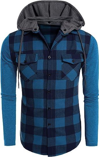 Coofandy Camisa con Capucha Desmontable Hombre Manga Larga Cuadros con Bolsillos: Amazon.es: Ropa y accesorios