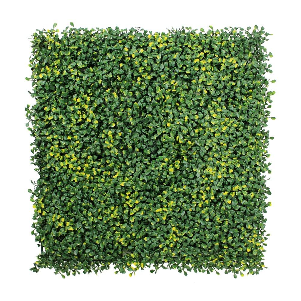 フェイクグリーンマット 人工植物葉フェンス プラスチックパネル 壁掛 ベランダ 家の庭の装飾 50x50cm/枚 (6枚, イエロー) B0721B779Y 6枚 イエロー イエロー 6枚