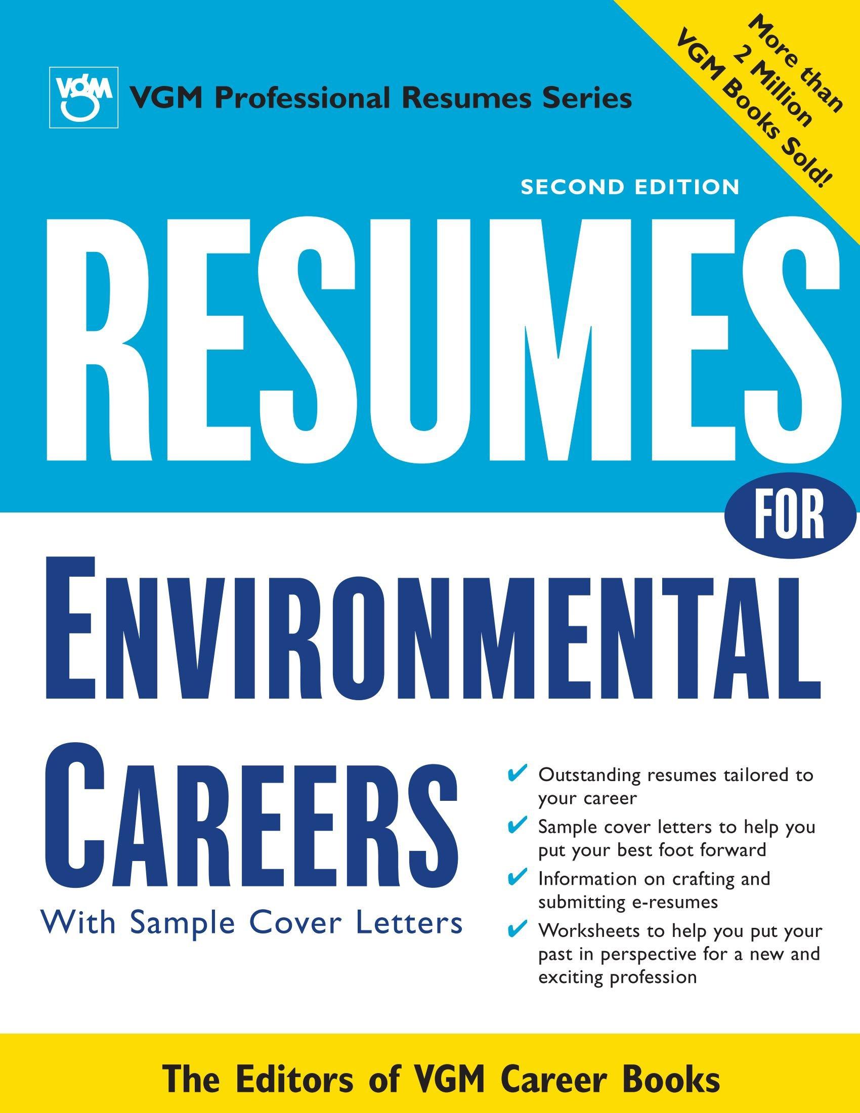 Resumes For Environmental Careers 2nd Ed Editors Of Vgm Career