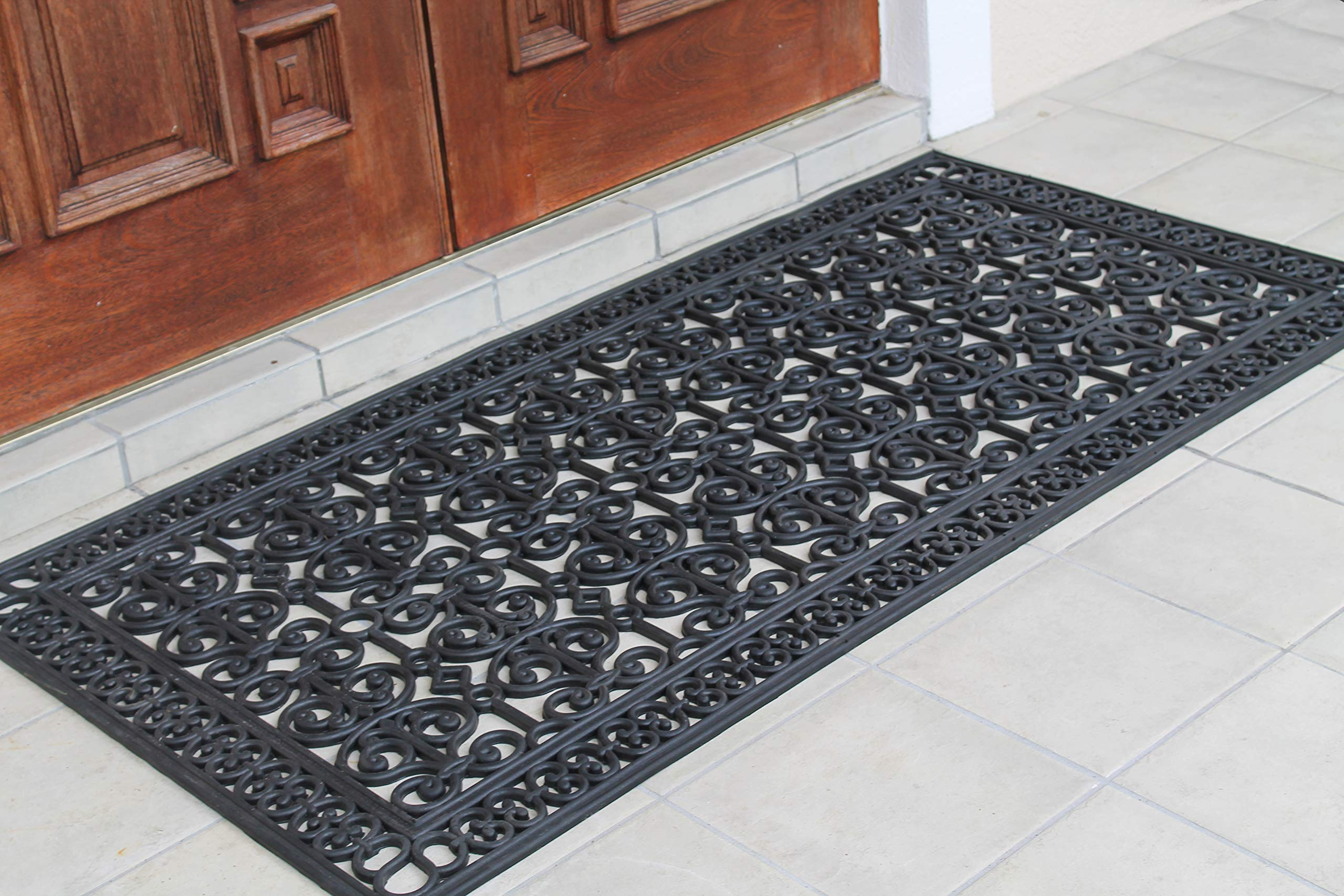 A1 Home Collections A1HCCL68 Doormat A1HC First Impression Rubber Paisley, Beautifully Hand Finished,Thick, 36X72, Black Estate 36'' X 72'' by A1 Home Collections (Image #3)