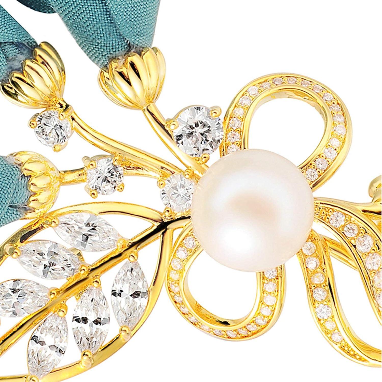Aooaz Jewelry Brooch Women Girls Flower Leaf Wedding Brooch Wedding Accessory