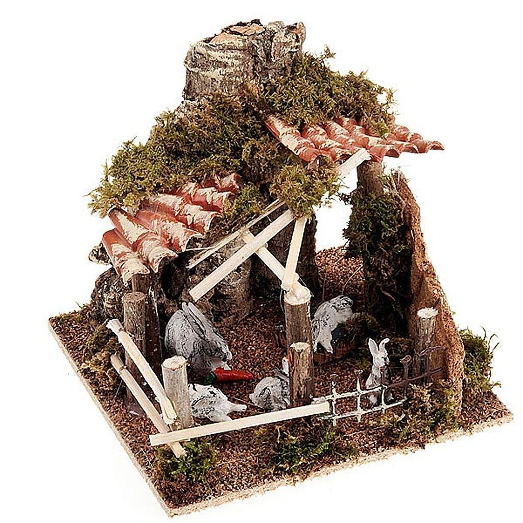 Conigli nel recinto con tettoia in tegole presepe 8-10 cm: Amazon ...