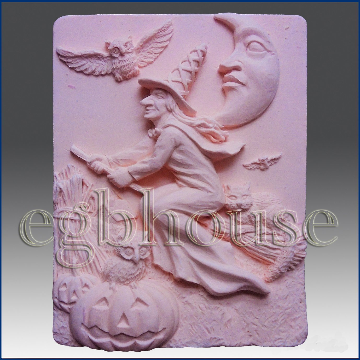 Halloween Witch on Broom - Soap/guest/polymer/clay/cold Porcelain 2d Silicone Mold