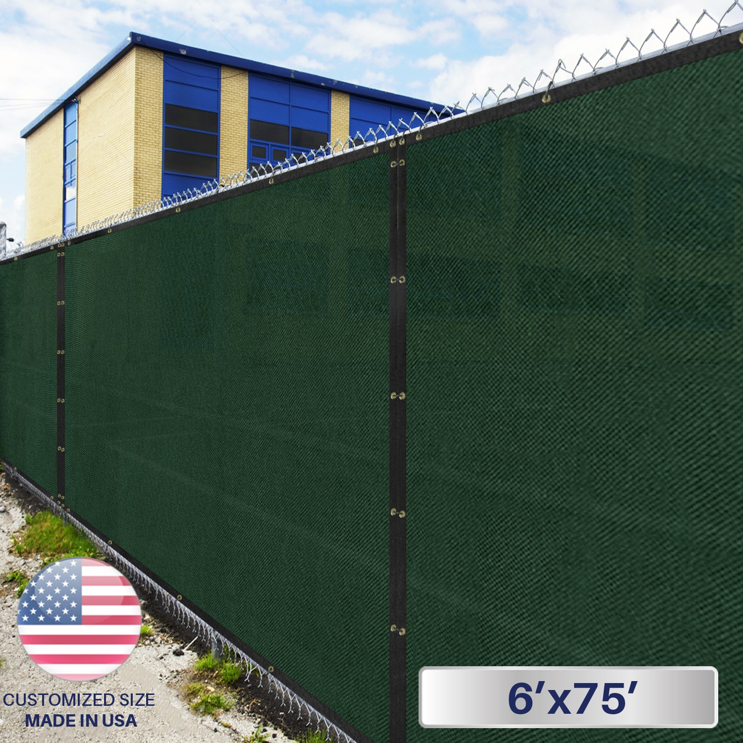 6' x 75' Privacy Fence Screen in Green with Brass Grommet 85% Blockage Windscreen Outdoor Mesh Fencing Cover Netting 150GSM Fabric - Custom Size