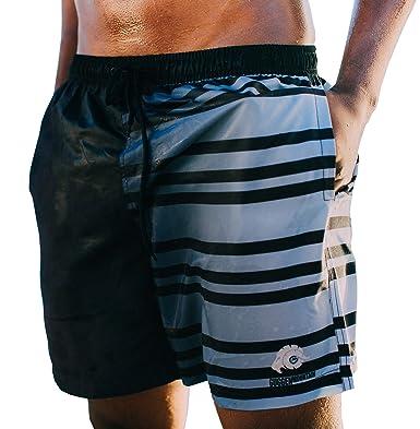 GUGGEN MOUNTAIN Herren Badeshorts Beachshorts Boardshorts Badehose mit  Muster *High Quality Print* Schwarz Weiss