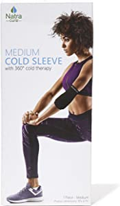 NatraCure Gel Cold Sleeve Wrap - Medium Reusable Ice Therapy Sleeve (for Pain and Injuries of Foot, Ankle, Wrist, Arm, Leg, Elbow, Shin, Forearm, Calf) 700-03 RET - Knee Ice Wrap Around Entire Knee