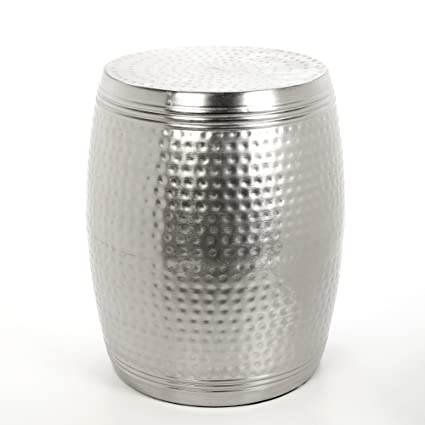 Hosley Silver Finish Hammered Garden Stool, End Table. 19u0026quot; High  14u0026quot; Diameter
