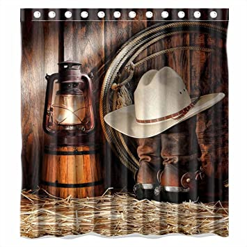 Custom American West Rodeo Cowboy Waterproof Polyester Fabric Bathroom  Shower Curtain Standard Size 66(w