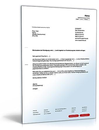 Rücknahme Kündigung Arbeitsvertrag Pdf Download Amazonde Software