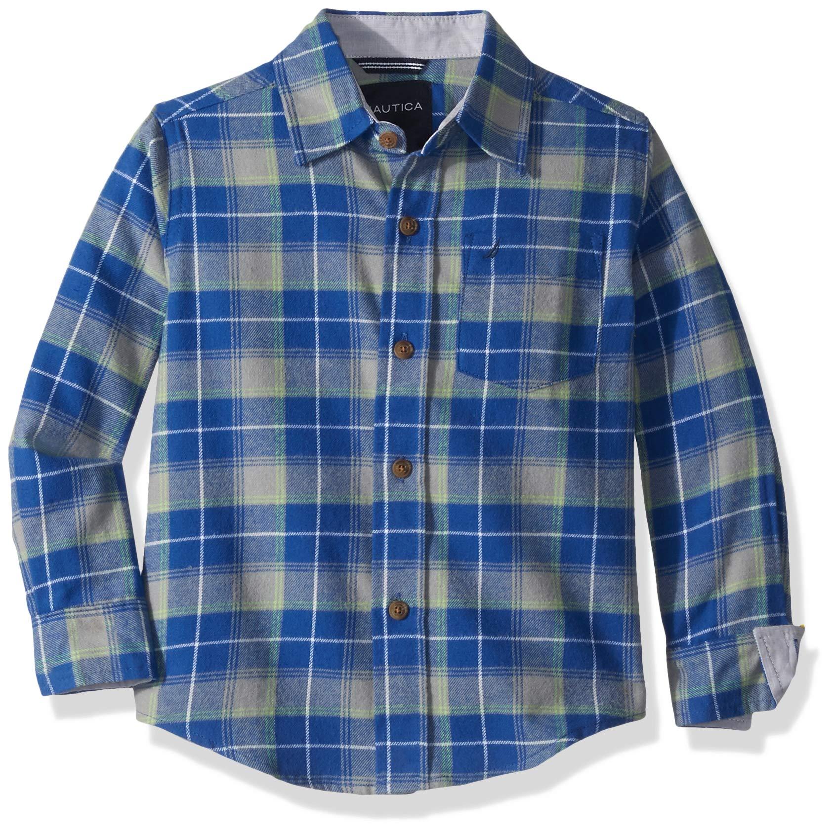 Nautica Boys' Long Sleeve Flannel Woven Shirt, Evans Cobalt, X-Large (18/20)