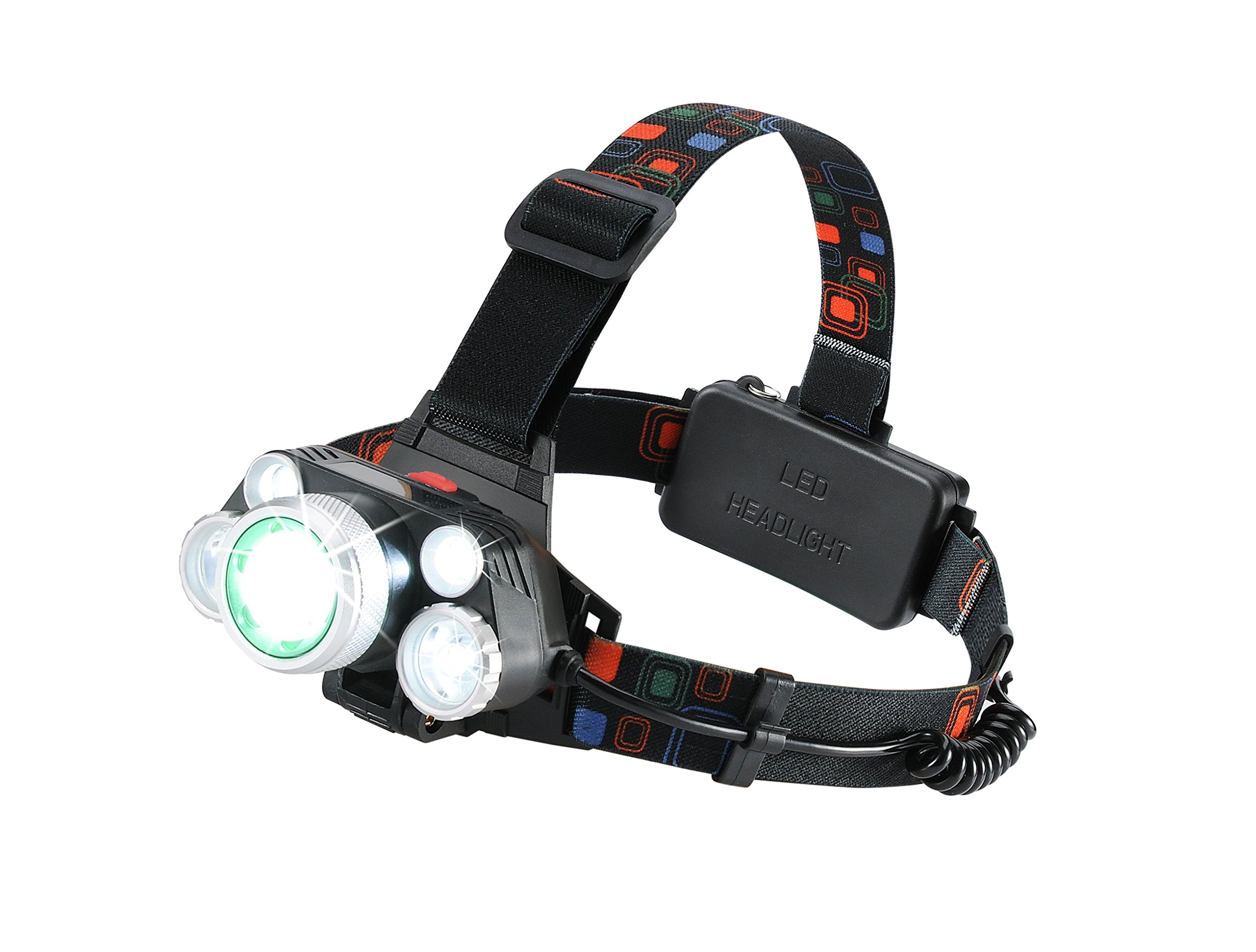 LED Headlamp By Purpose Force: Rechargeable Headlight Assembly With Zoomable Light & 4 Brightness Modes – Adjustable Head Lamp Flashlight For Cycling, Running, Hiking, Fishing – 3 Chargers Included