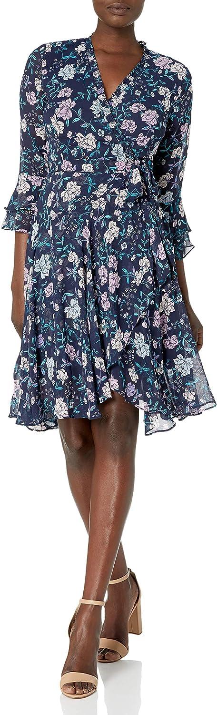 Tahari ASL Women's Long Sleeve Floral Smocked Wrap Dress