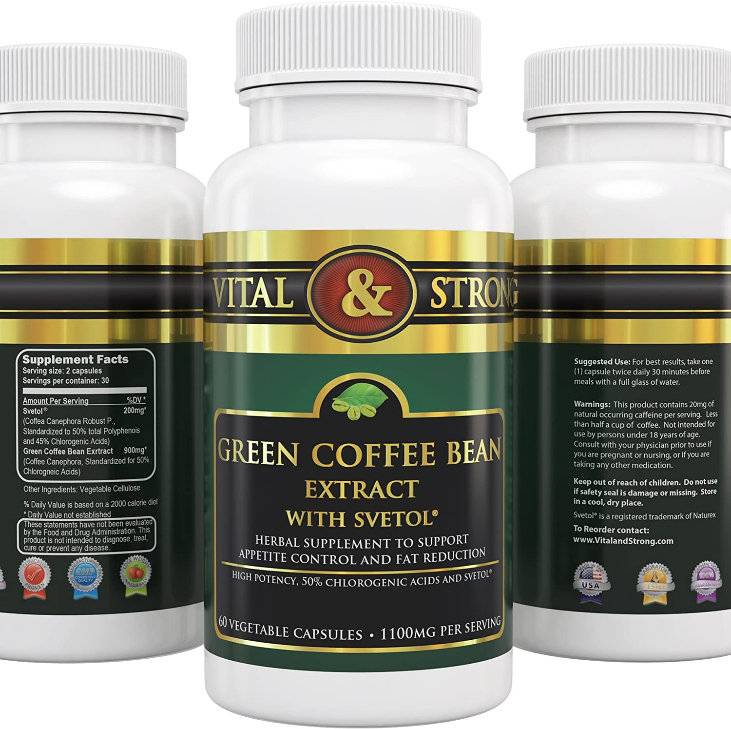Amazon Com Vital Strong Green Coffee Bean Extract With Svetol