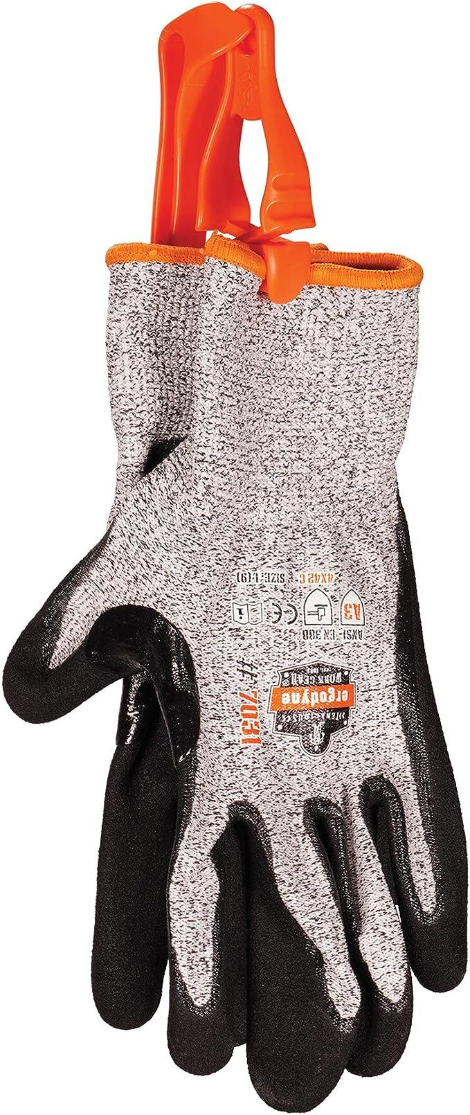 1X ERGODYNE Squids 3400 Orange Glove belt Grabber Holder Dual Clip