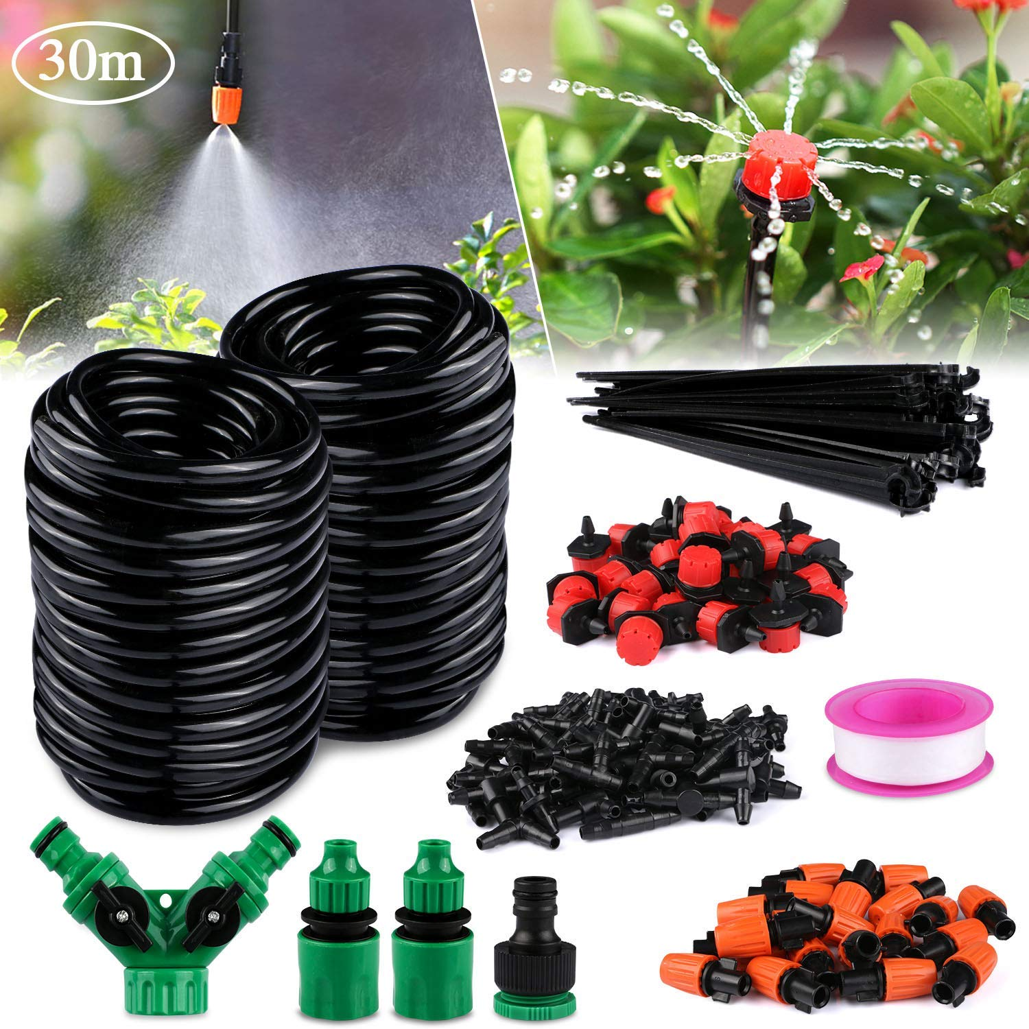 Philonext Drip Irrigation,100ft /30M Garden Irrigation System, Adjustable Automatic Micro Irrigation Kits,1/4'' Blank Distribution Tubing Hose Suit for Garden Greenhouse, Flower Bed,Patio,Lawn (30M) by Philonext