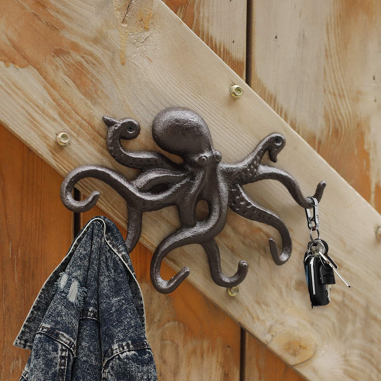 Gusseisen 25.5cm Schl/üsselhalter mit 6 Tentakeln Gold-Gr/ün Kleiderhaken f/ür Wanddekoration Rustikale Octopus Decor Wandkunst