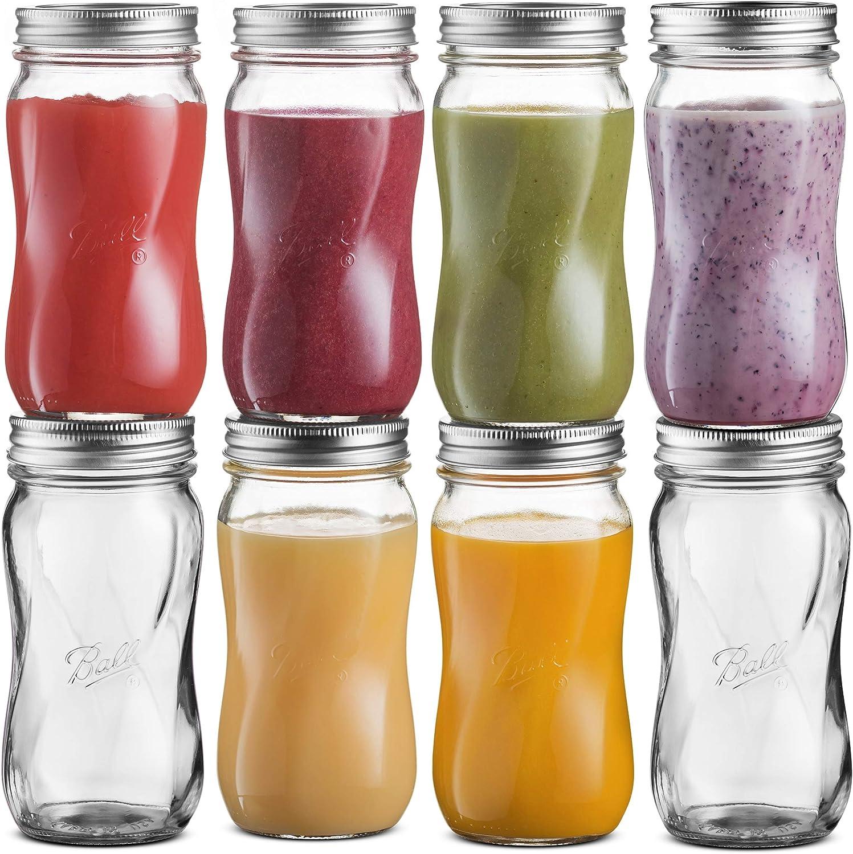 Ball Regular Mouth Mason Jars 16 oz [8 Pack] Travel Glass Drinking Spiral Jars with Airtight lids & Bands. For Juicing/Smoothies/Kombucha, DIY, Safe For canning, Pickling, Storage + SEWANTA Jar Opener