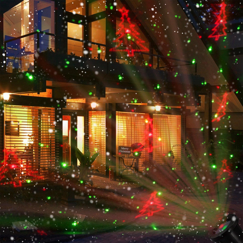 Luce di Proiezione Natale Proiettore a Luce di Neve NACATIN con Telecomando 5W Rotazione 180 Illuminazione Decorativa Paesaggio Fiocco di Neve IP44 Impermeabile LED
