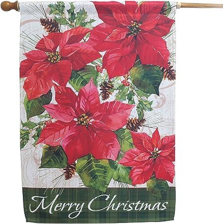 "CHRISTMAS HOLIDAY POINSETTIA GARDEN HOUSE// BANNER FLAG 12/""X18/"" SLEEVED POLYESTER"