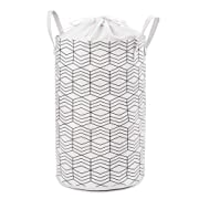 23.6  Large Laundry Basket Collapsible Laundry Hamper Drawstring Waterproof Storage Baskets Round Cotton Linen Dirty Clothes Hamper (Black and White Grids)