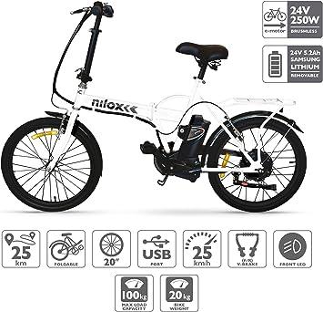 Nilox E Bike 24 V 14 P-X1 Bicicleta Eléctrica, Unisex Adulto ...