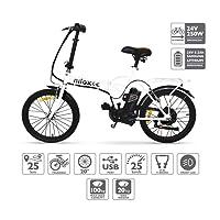 NILOXX1,Velo Electrique Pliable, Vélo électrique Pliant, 20 '' Pouces E-Bike, Vitesse maximale 25 km/h, Blanc