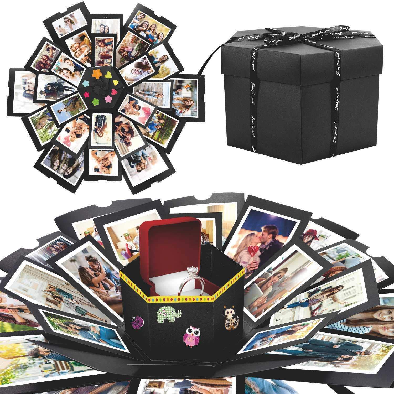 Scrapbooking Photo Album Gift Box per il Compleanno di San Valentino Anniversary Wedding Festival di Natale Creativo Fai Da te a Sorpresa Esplosione Regalo Scatola Amore Memoria WisFox Explosion Box