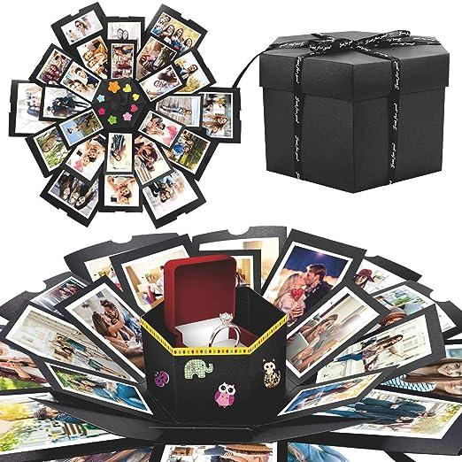 WisFox Explosion Box, Creativo DIY Hecho a Mano Sorpresa Explosión Caja de Regalo Amor Memoria, Álbum de Fotos de Scrapbooking Caja de Regalo para ...