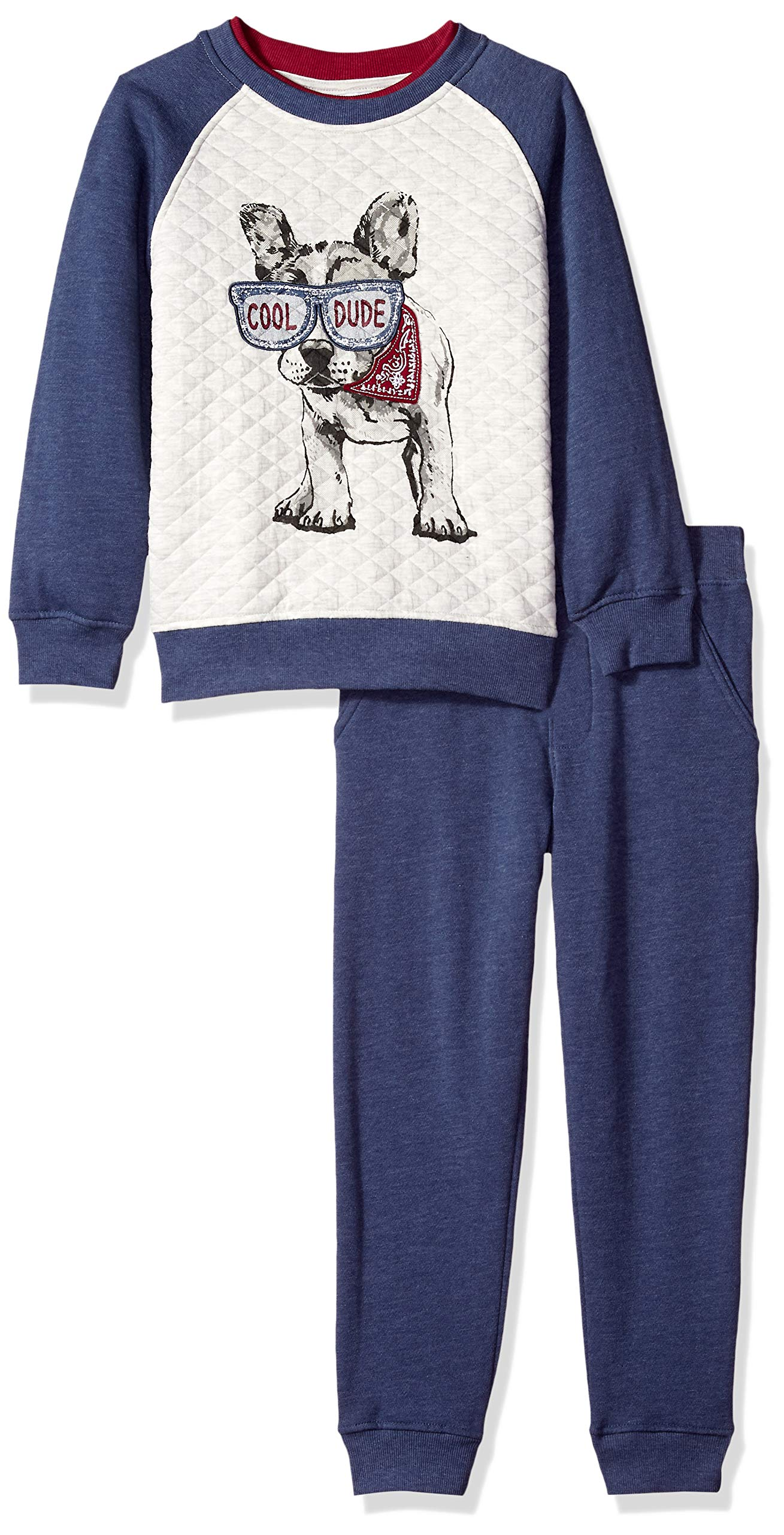 Kids Headquarters Boys' Little 2 Pieces Pullover Pant Set, Blue/Oatmeal, 4