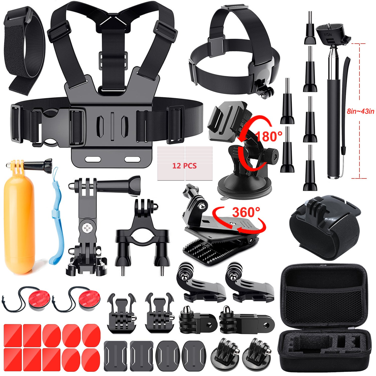 41-In-1 Action Camera Accessories Kit for GoPro Hero 6/GoPro Fusion/Hero 5/Session 5/4/3+/3/2/1/SJ4000/5000/6000/AKASO/Xiaomi Yi 4K and More by Mogomiten(41 items)