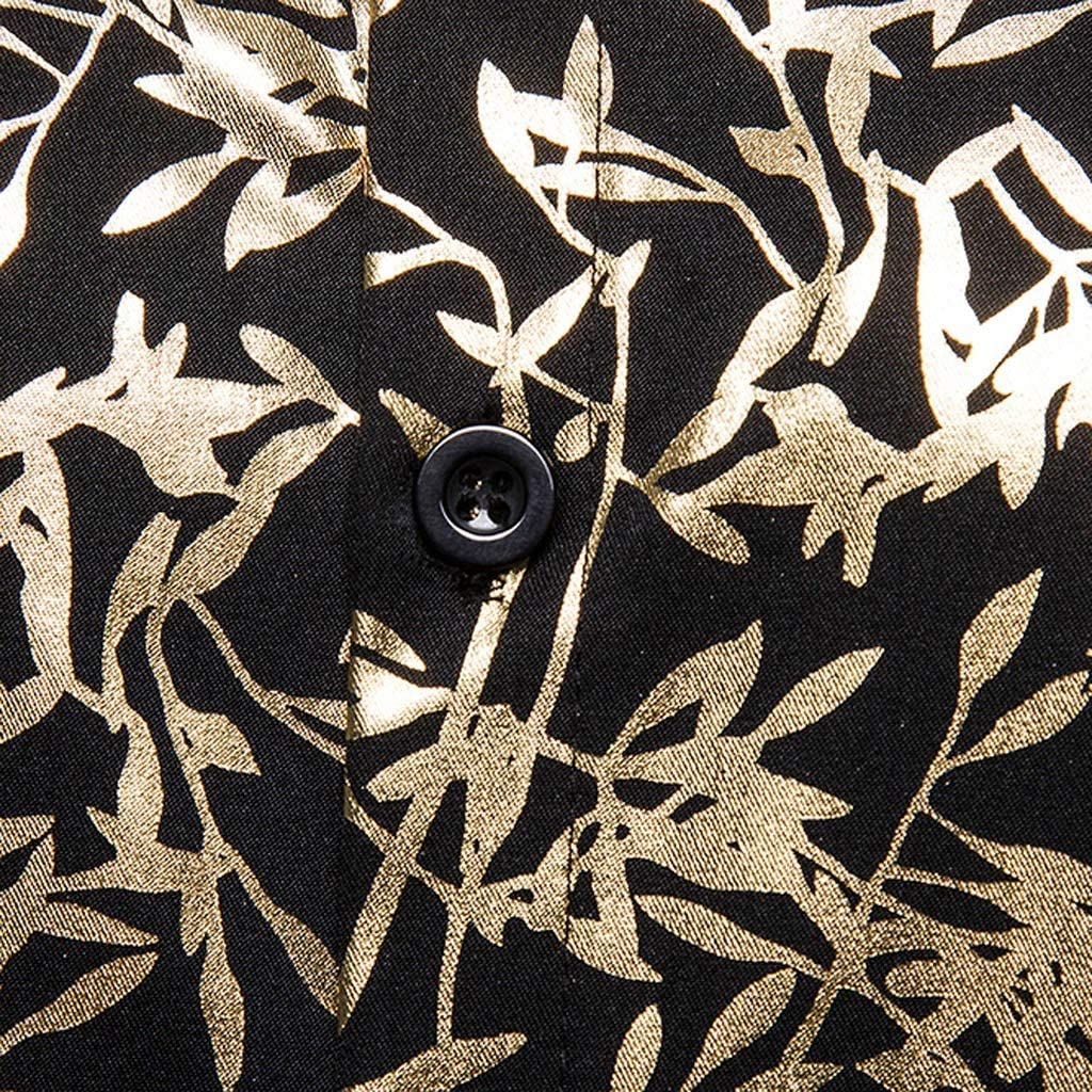SFE/_Men Shirt Loose Multi Color Lump Chest Short Sleeve Turn-Down Collar Round Hem Coat for Hawaiian Vacation Party