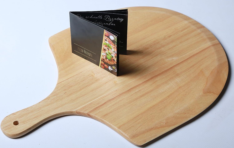 con Pala e Rotella tagliapizza Pietra per Pizza 38 cm XXL Wohlers